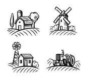 black farm and field