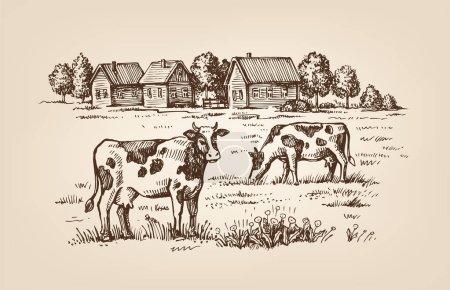 Illustration pour Image vectorielle du village et de la ferme paysagère - image libre de droit