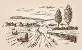 "Постер, картина, фотообои ""hand drawn village"""