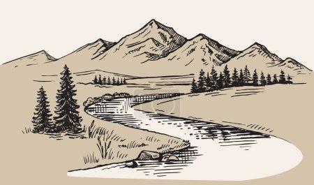 Illustration pour Paysage de montagne illustration vectorielle nature dessin image - image libre de droit