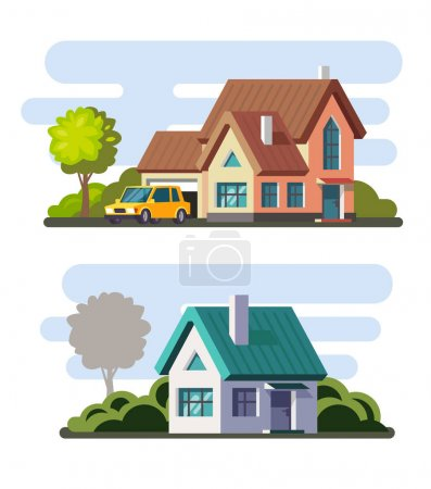 Illustration for Tamplate of real estate, property and ownership. Vector in flat style - Royalty Free Image