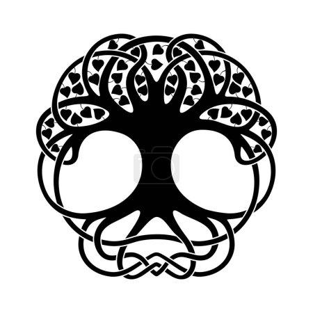 Illustration pour Arbre d'ornement national celtique avec des feuilles en forme de cercle. Ornement noir isolé sur fond blanc . - image libre de droit