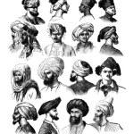 How to adjust the turbans, vintage engraved illust...