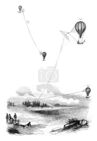 Aerostat, Tetherball, Aircraft, vintage engraving.