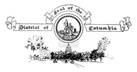 Illustration pour Le sceau des États-Unis du District de Columbia, ce sceau a deux figures humaines l'une est comme George Washinton et la femelle tenant une couronne dans sa main droite, un aigle, et sous le chariot de taureau, dessin de ligne vintage ou illustration de gravure - image libre de droit