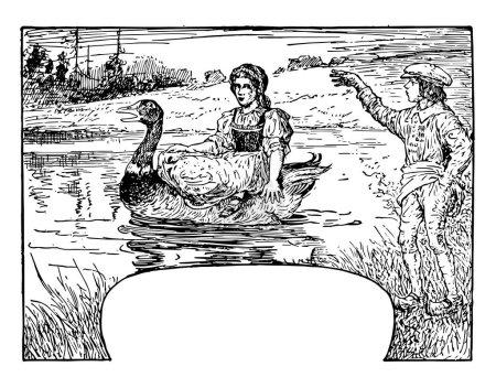 Illustration pour Hansel et Grethel, cette scène montre une fille assise sur le dos du canard dans l'eau et regardant le garçon debout sur le sol, garçon lève la main droite et dire quelque chose, dessin de ligne vintage ou illustration de gravure - image libre de droit