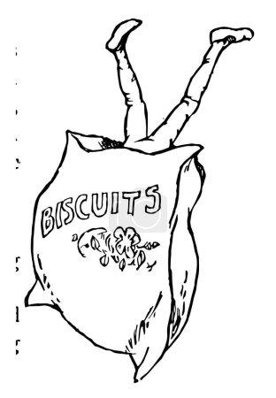 Illustration pour Jambes, cette image montre un homme sauté dans un sac à biscuits avec les jambes en l'air, dessin de ligne vintage ou illustration de gravure - image libre de droit