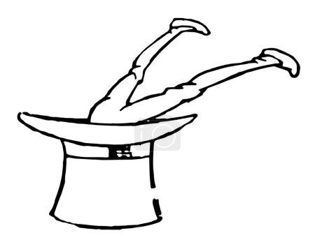 Illustration pour Jambes, cette image montre un homme sauté dans un chapeau avec les jambes en l'air, dessin de ligne vintage ou illustration de gravure - image libre de droit