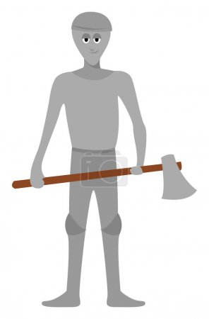 Illustration for Man with big axe, illustration, vector on white background - Royalty Free Image