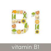 Letter B and number 1 symbolizing vitamin B1 concept vector illustration