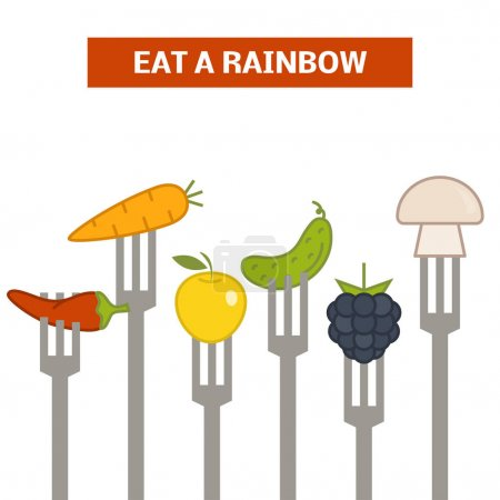 forks with pinned vegetables and fruits
