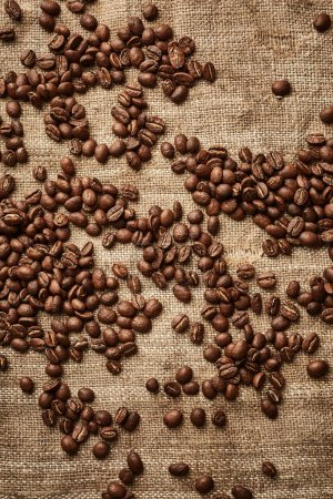 Coffee beans on linen fabric