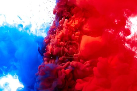 Blue and red abstract paint splash