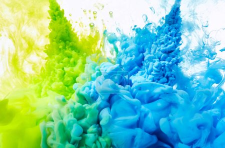 Blue and green paint splash