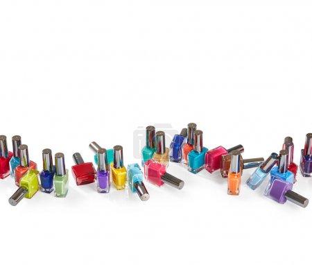 Colorful fashion Nail polishes isolated on white background