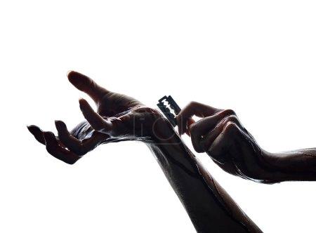 Razor blade in hands