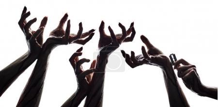 Terrible human hands in blood