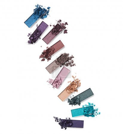 Colored crushed eye shadow isolated on white background