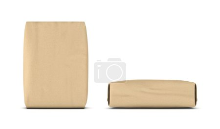 Rendering of two light beige cement sacks, side and front view, isolated on the white background.