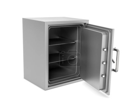 Rendering of open safe box with its door broken isolated on white background.