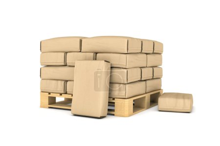 Rendering of large paper bags on pallet