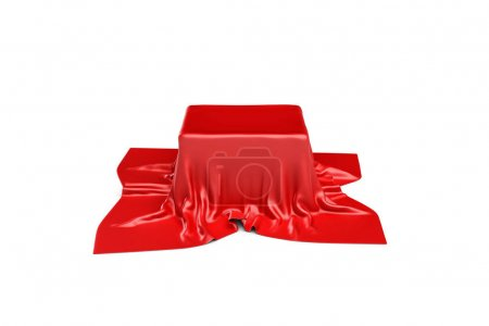 3d rendering of a box covered by red cloth in fron...