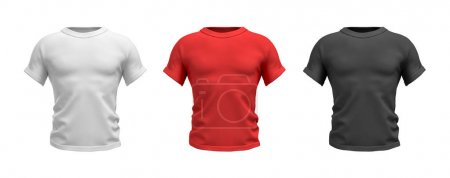 3d rendering of three male T-shirts in realistic muscular torso front view in white, red and black colors.