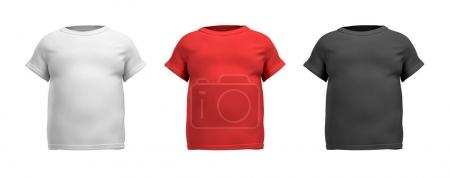 3d rendering of three male T-shirts in realistic fat torso front view in white, red and black colors.