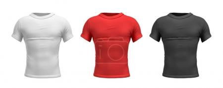 3d rendering of three male T-shirts in realistic slim torso front view in white, red and black colors.