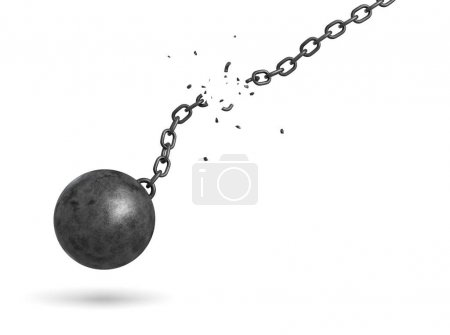 3d rendering of a black iron ball swinging and falling from a broken chain.