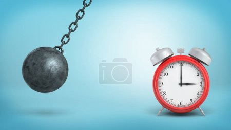 3d rendering of a large red alarm clock stands intact in danger of being hit by an iron wrecking ball.