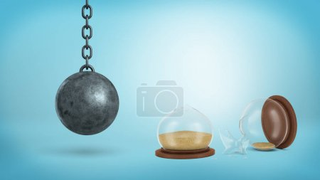 3d rendering of a broken retro hourglass lying in halves with sand still inside near a hanging wrecking ball.