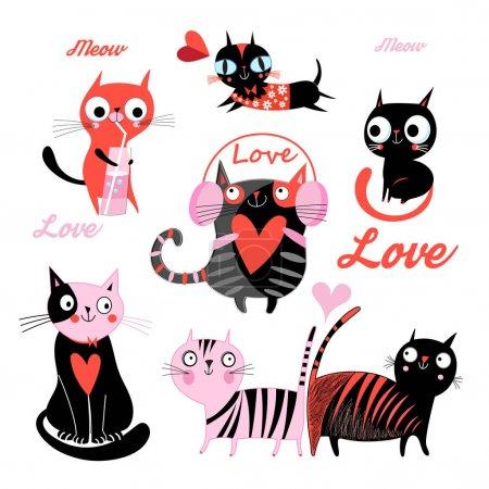 Illustration pour Ensemble vectoriel de drôles de chats aimants isolés sur fond blanc - image libre de droit