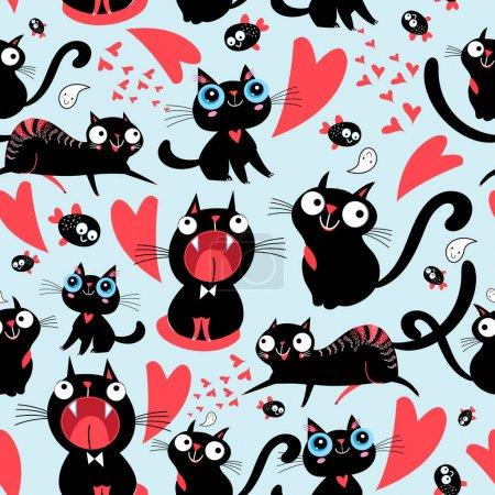 Photo pour Modèle cool de drôles de chats aimants sur un fond clair - image libre de droit