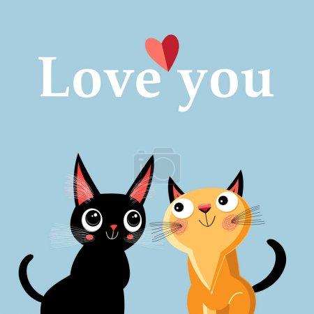 Illustration pour Carte de voeux avec chatons émus sur fond bleu - image libre de droit
