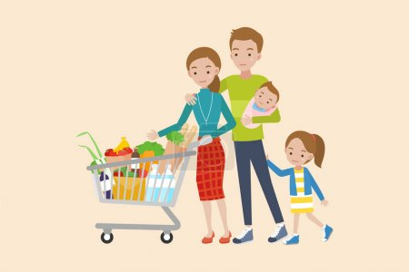 Woman holding shopping cart. Young parents, mother and father with their daughter and baby.