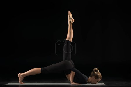 Woman lying in yoga position
