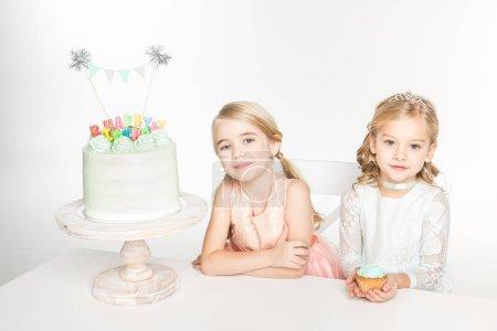 Girls with birthday cake