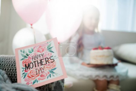 Photo for Close-up view of elegant Happy Mothers Day greeting card - Royalty Free Image