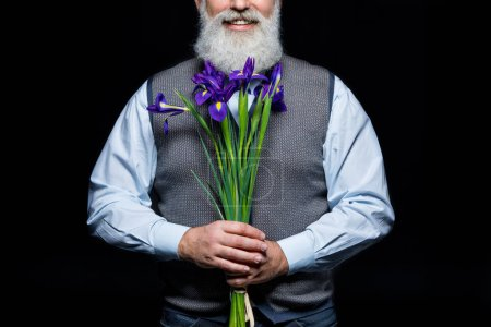 Senior man with flowers