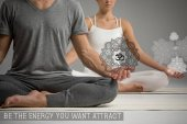 Couple sitting in lotus position