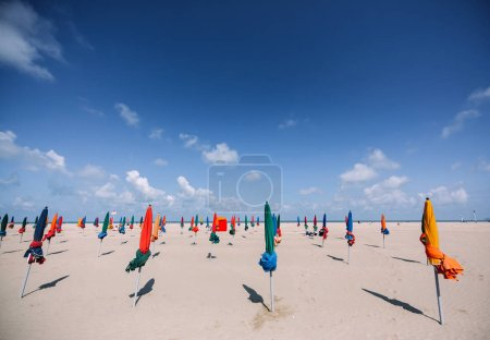 Colorful parasols on Deauville Beach