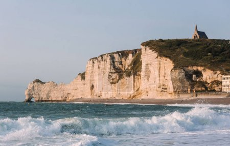 Etretat beach and white cliffs