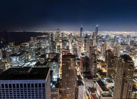 Cityscape of Chicago at night