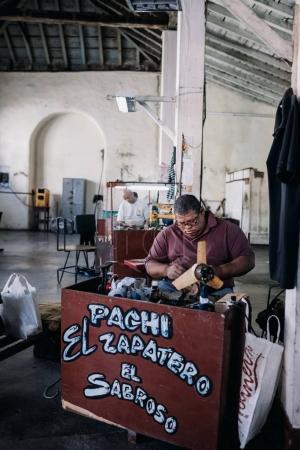 Santiago de Cuba, Cuba - January 20, 2017: shoemaker working in workshop