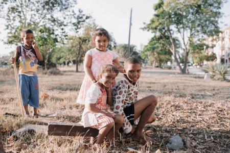 Santiago de Cuba, Cuba - January 20, 2017: smiling children playing outdoors