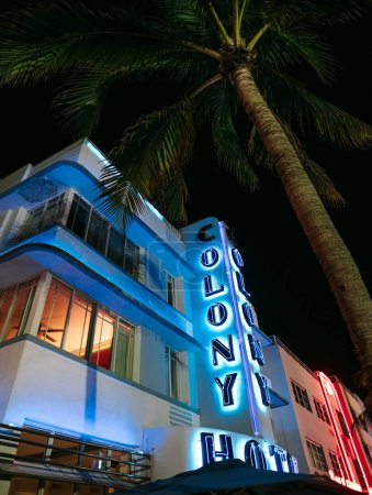 Miami Beach, USA - March 20, 2018: illuminated Colony Hotel in Ocean Drive at night
