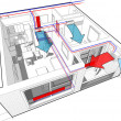 Perspective cutaway diagram of a one bedroom apart...