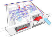 Apartment diagram with radiator heating and ceiling cooling