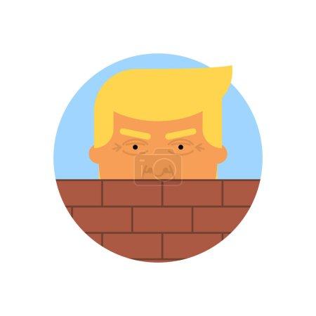 Donald Trump behind a brick